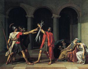 Le Serment des Horaces - Jacques-Louis David. Anecdote: Je tenais à illustrer le salut romain, mais sans Nazis, et j'a trouvé cette toile (sur la page Wikipedia du salut romain, tiens donc), puis j'ai réalisé que j'avais déjà utilisé une toile de David pour illustrer mon article sur Harry Potter à l'école de la philosophie! C'est ça. (Scusez, c'était plate comme histoire, finalement.)