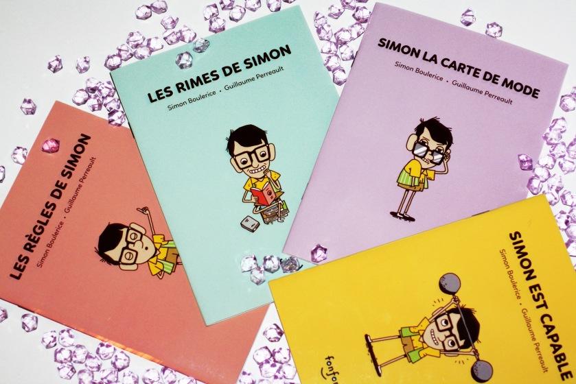 Les règles de Simon, Les rimes de Simon, Simon la carte de mode, Simon est capable, Simon Boulerice, Guillaume Perreault, littérature jeunesse, 6 ans et plus, livre pour enfant, nouveau lecteur, apprendre à lire
