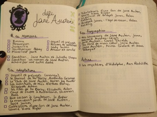 défi Jane Austen, bullet journal