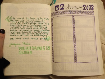 Jacques Poulin, Volkswagen blues, 52 livres en 2018, bullet journal
