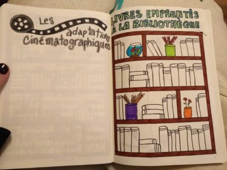 adaptations cinématographiques, livres empruntés à la bibliothèque, bullet journal