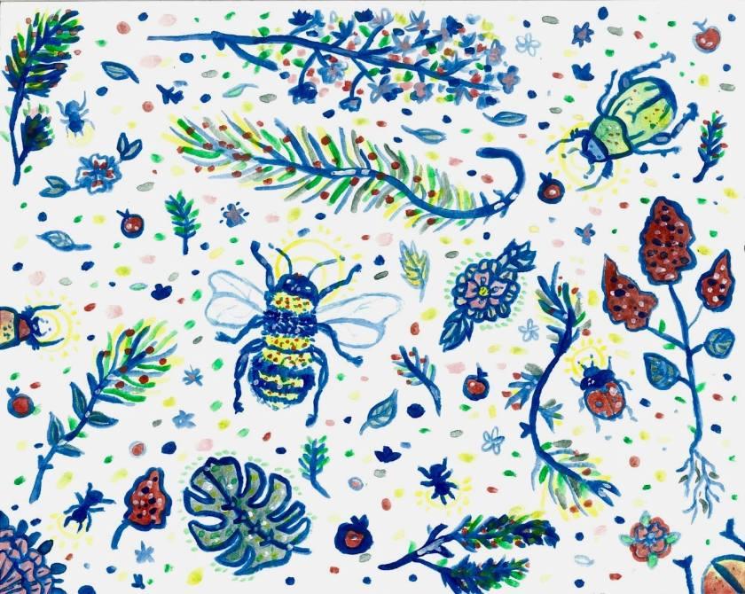 le fil rouge, le fil rouge lit, le journal champêtre d'Edith Holden, campagne, fleurs, botanique, Angleterre, nature