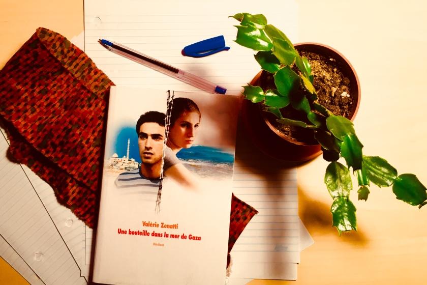 Le fil rouge, le fil rouge lit, bibliothérapie, littérature, lecture, livres, les livres qui font du bien, Une bouteille dans la mer de Gaza, Valérie Zenatti, L'École des loisirs, amitié, espoir, conflit israélo-palestinien, désir de réconciliation, histoire qui se déroule dans la bande de Gaza, histoire qui se déroule en Israël, littérature étrangère, livre qui parle de guerre, livre qui parle de paix, Palestine, Israël, bande de Gaza