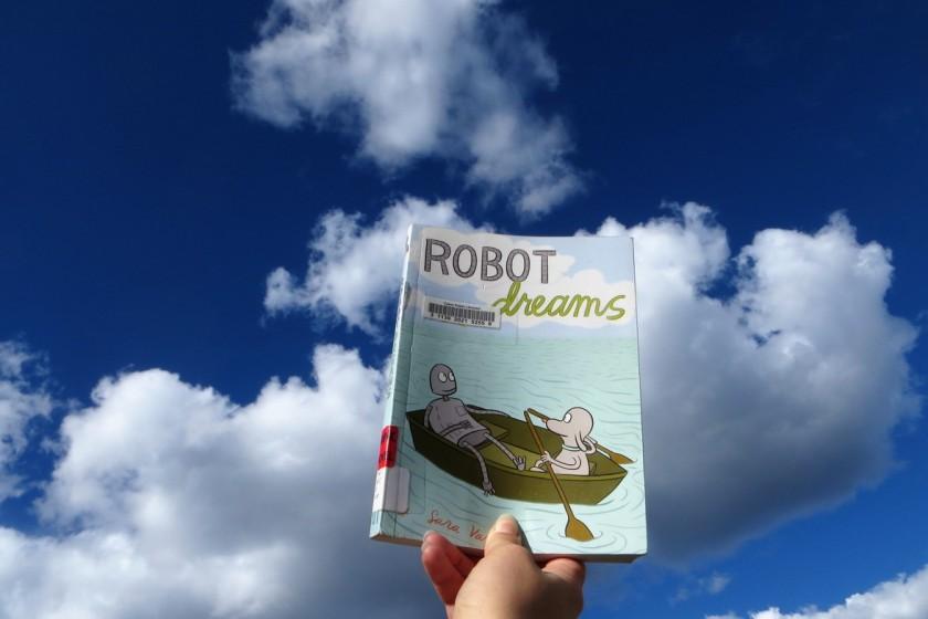 le fil rouge, le fil rouge lit, bibliothérapie, littérature, lecture, livres, les livres qui font du bien, Bande dessinée, Robot dreams, Sara Varon, First second, amitié, solitude, robot, chien, rêves